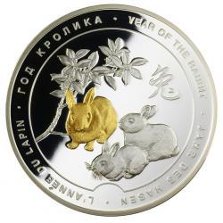 Серебряная медаль «Год кролика», 65 мм, 0,999 пробы
